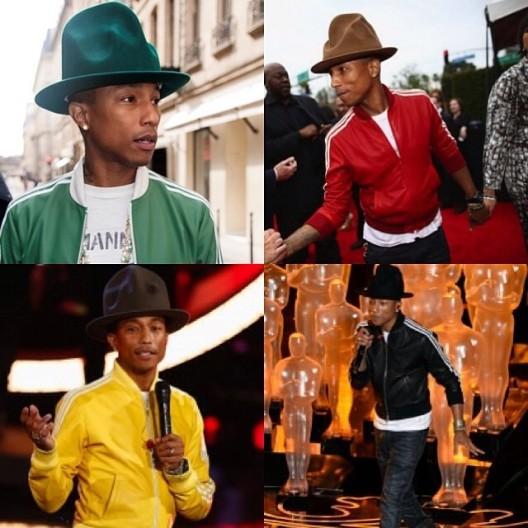 Pharrell-Williams-wears-green-red-yellow-black-leather-Adidas-Superstar-Track-Jackets-Collab