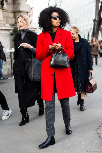 Milan Fashionweek FW 2015 day 4, outside Jil sander, Julia Sarr Jamois