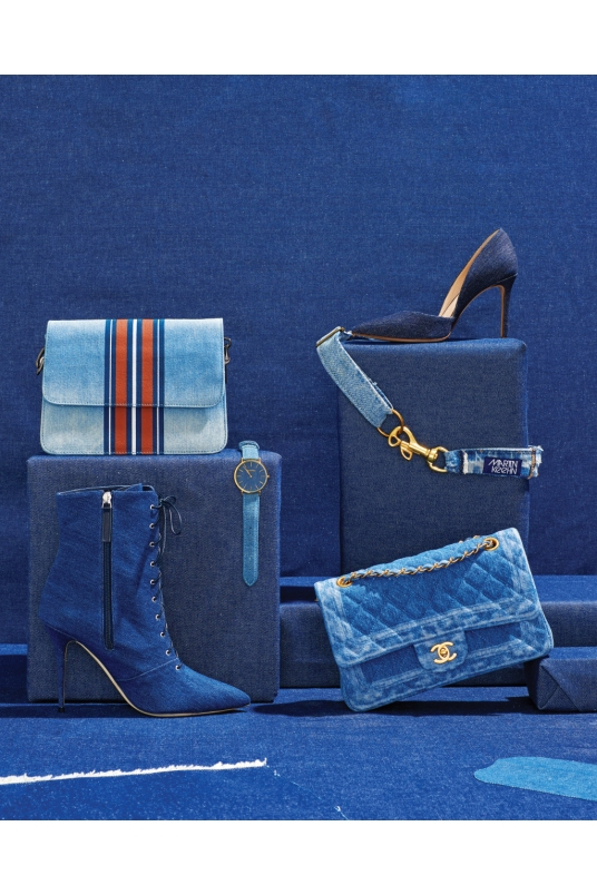 From Left: Circus by Sam Edelman's bag. Manolo Blahnik × Rihanna's boot. RumbaTime's watch. Louise et Cie's pump. Martin Keehn's belt. Chanel's bag.