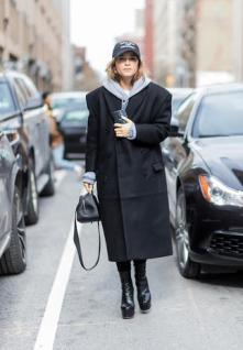 NEW YORK, NY - FEBRUARY 13: Miroslava Duma wearing a black coat, flex cap, hoody outside Proenza Schouler on February 13, 2017 in New York City. (Photo by Christian Vierig/Getty Images)