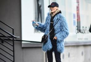 NEW YORK, NY - FEBRUARY 11: A model is seen wearing a blue fur coat at the Tibi show during New York Fashion Week: Women's Fall/Winter 2017 on February 11, 2017 in New York City. (Photo by Daniel Zuchnik/Getty Images)